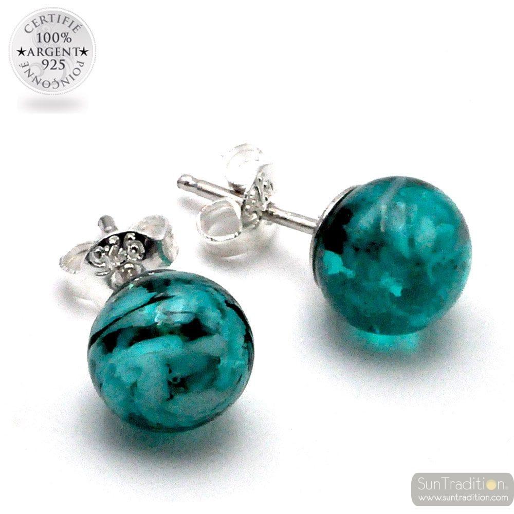 STUD OORBELLEN GROENE smaragd (EMERALD) EN ZWART ECHT GLAS VAN MURANO VENETIË