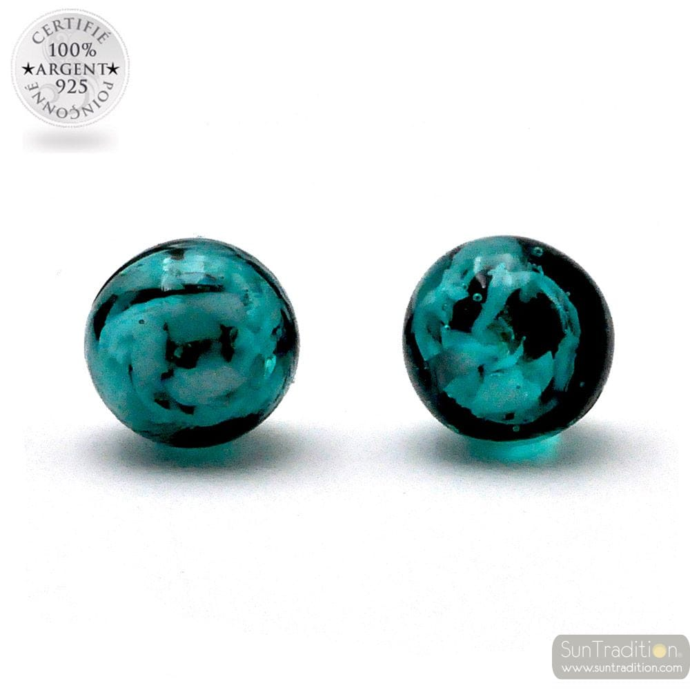 GREEN EMERALD AND BLACK STUD EARRINGS GENUINE GLASS OF MURANO FROM VENICE