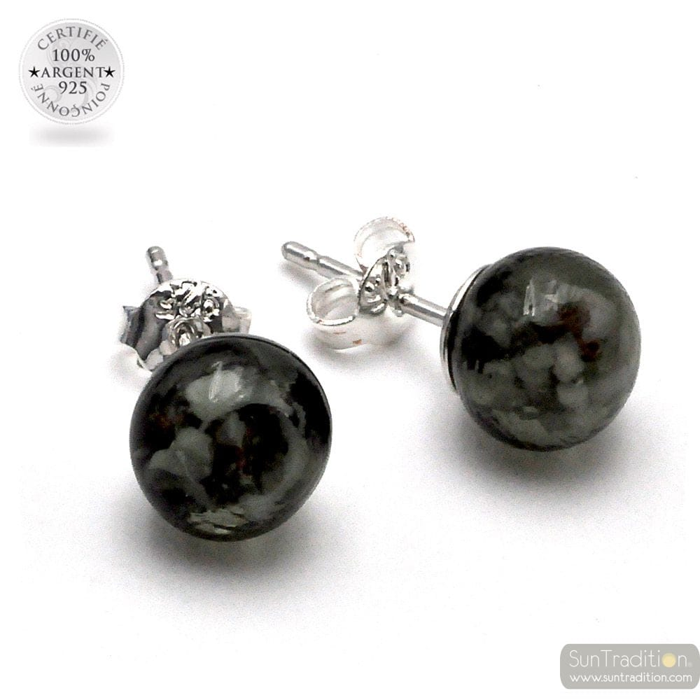 GRAY AND WHITE STUD EARRINGS GENUINE MURANO GLASS OF VENICE