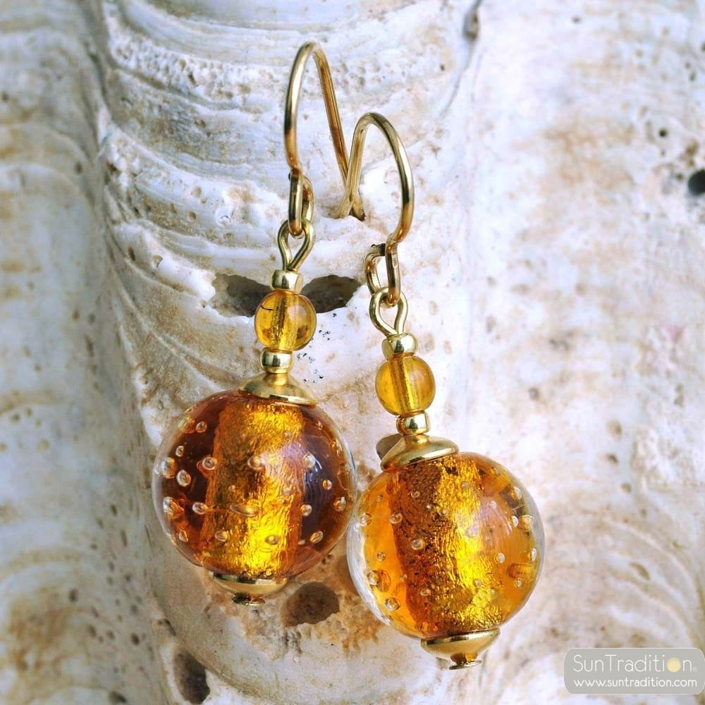 AMBER VENETIAN GLASS EARRINGS JEWELRY