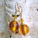 FIZZY AMBER EARRINGS GENUINE VENICE MURANO GLASS
