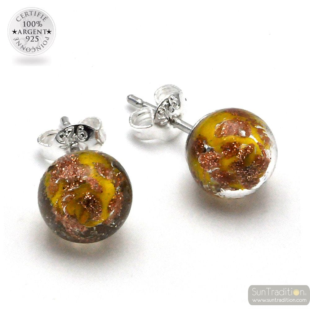 YELLOW AND AVENTURINE STUD EARRINGS IN GENUINE MURANO GLASS FROM VENICE