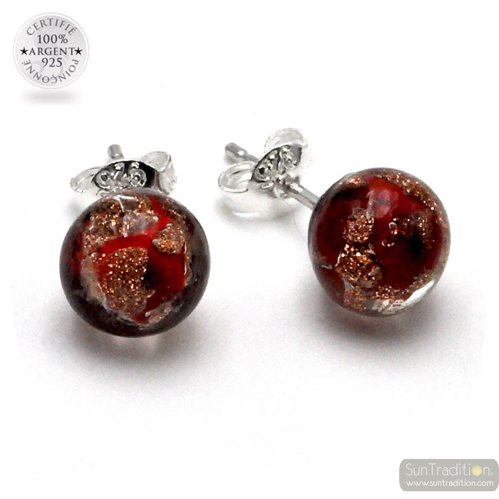 RED AND AVENTURINE STUD EARRINGS GENUINE MURANO GLASS FROM VENICE
