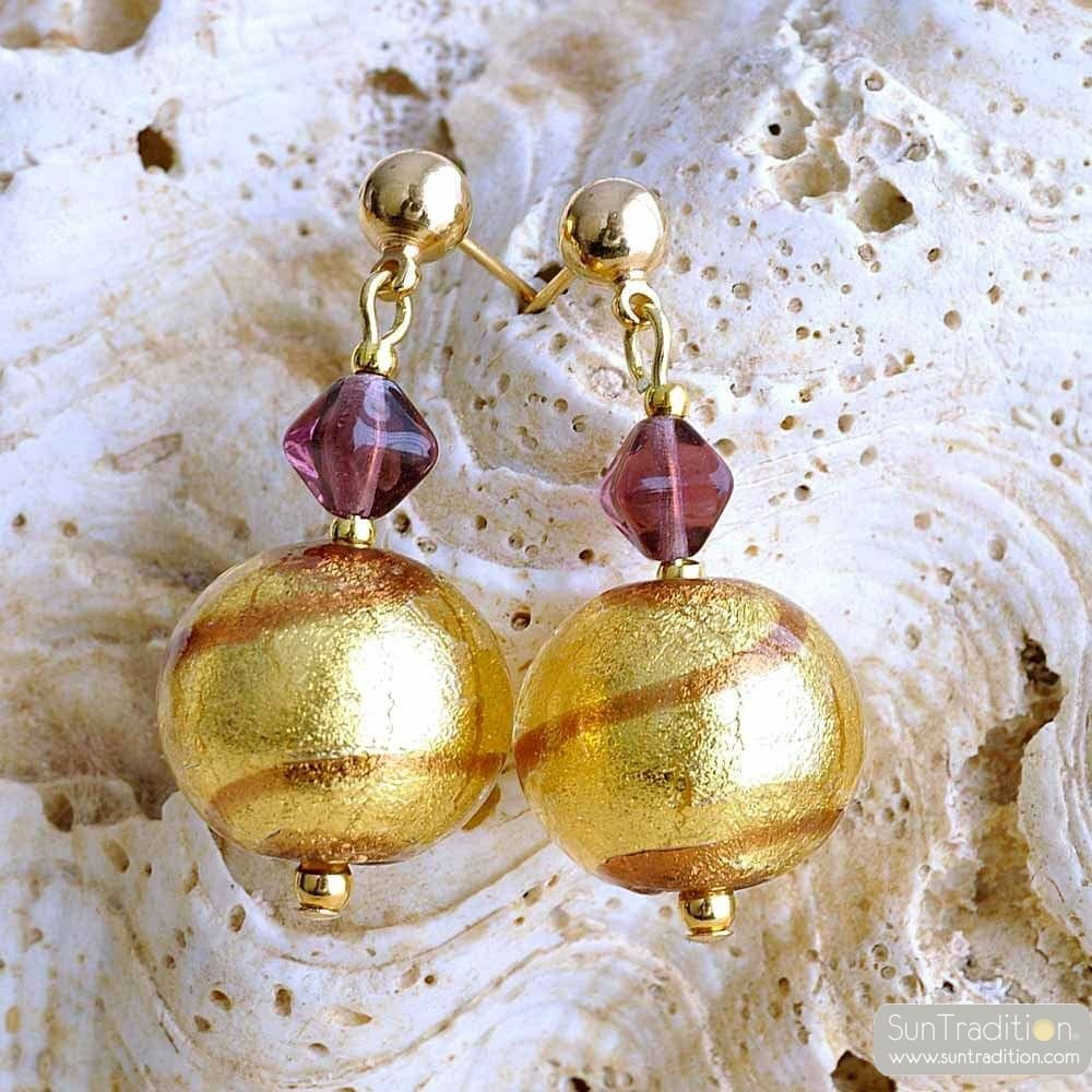 RUMBA CHOCOLATE EARRINGS GENUINE VENICE MURANO GLASS