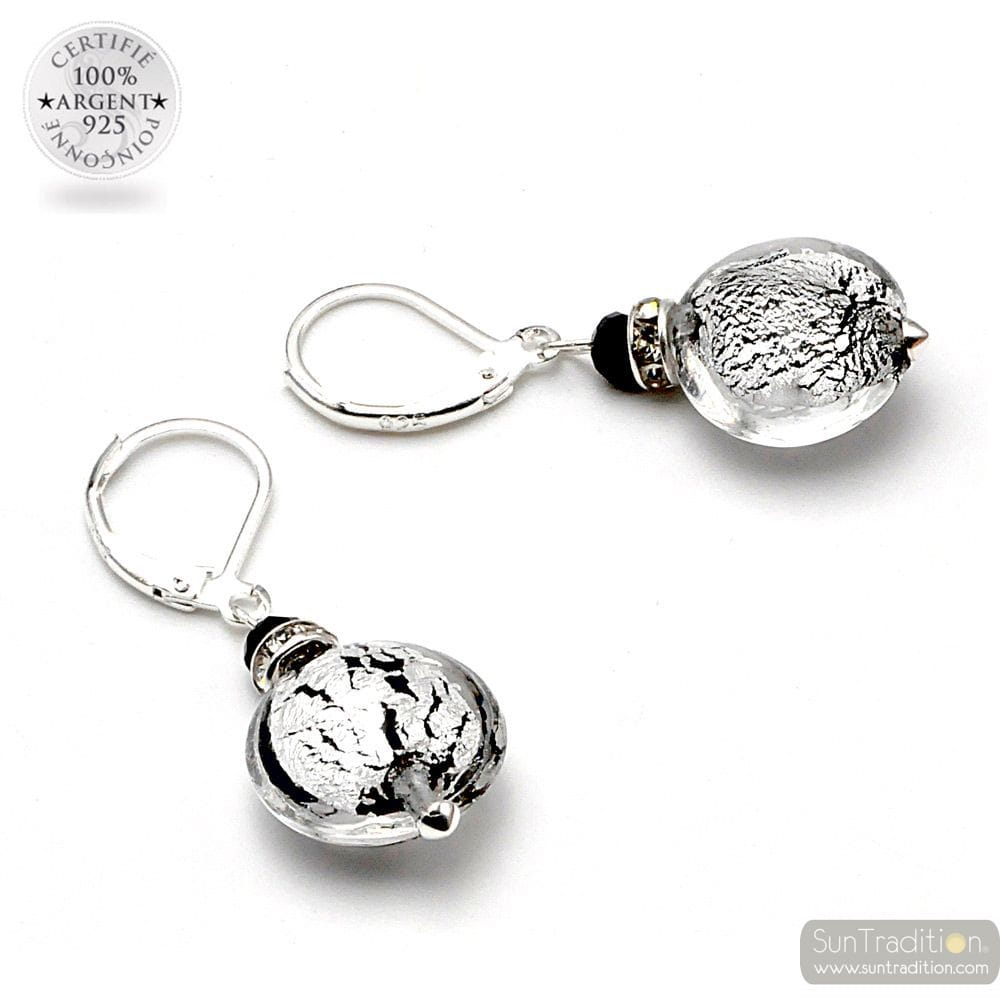 PASTIGLIA SILVER CREPATO - LEVERBACK SILVER EARRINGS JEWELRY REAL GLASS MURANO FROM VENICE