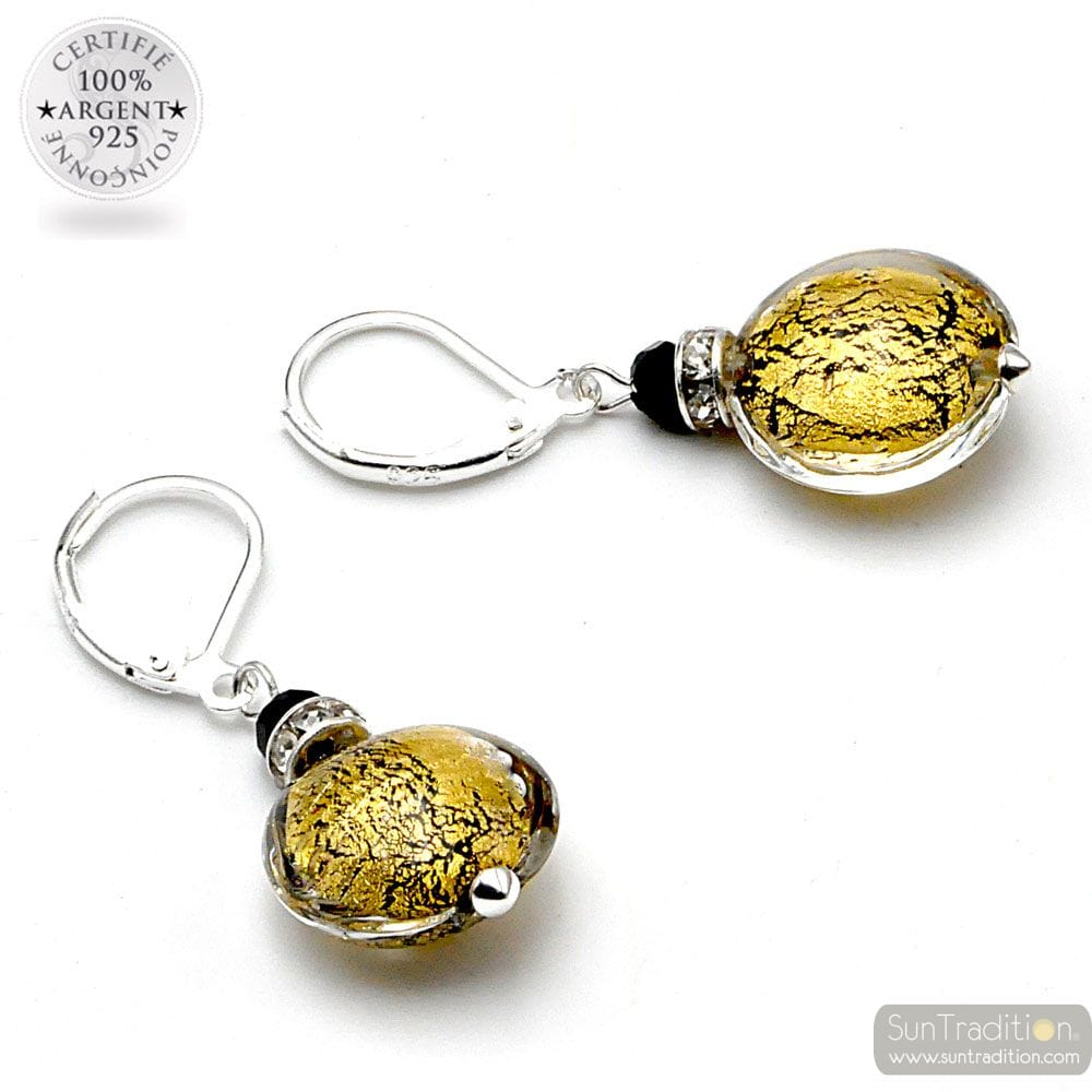 PASTIGLIA GOLD CREPATO - LEVERBACK GOLD EARRINGS JEWELRY REAL GLASS MURANO FROM VENICE