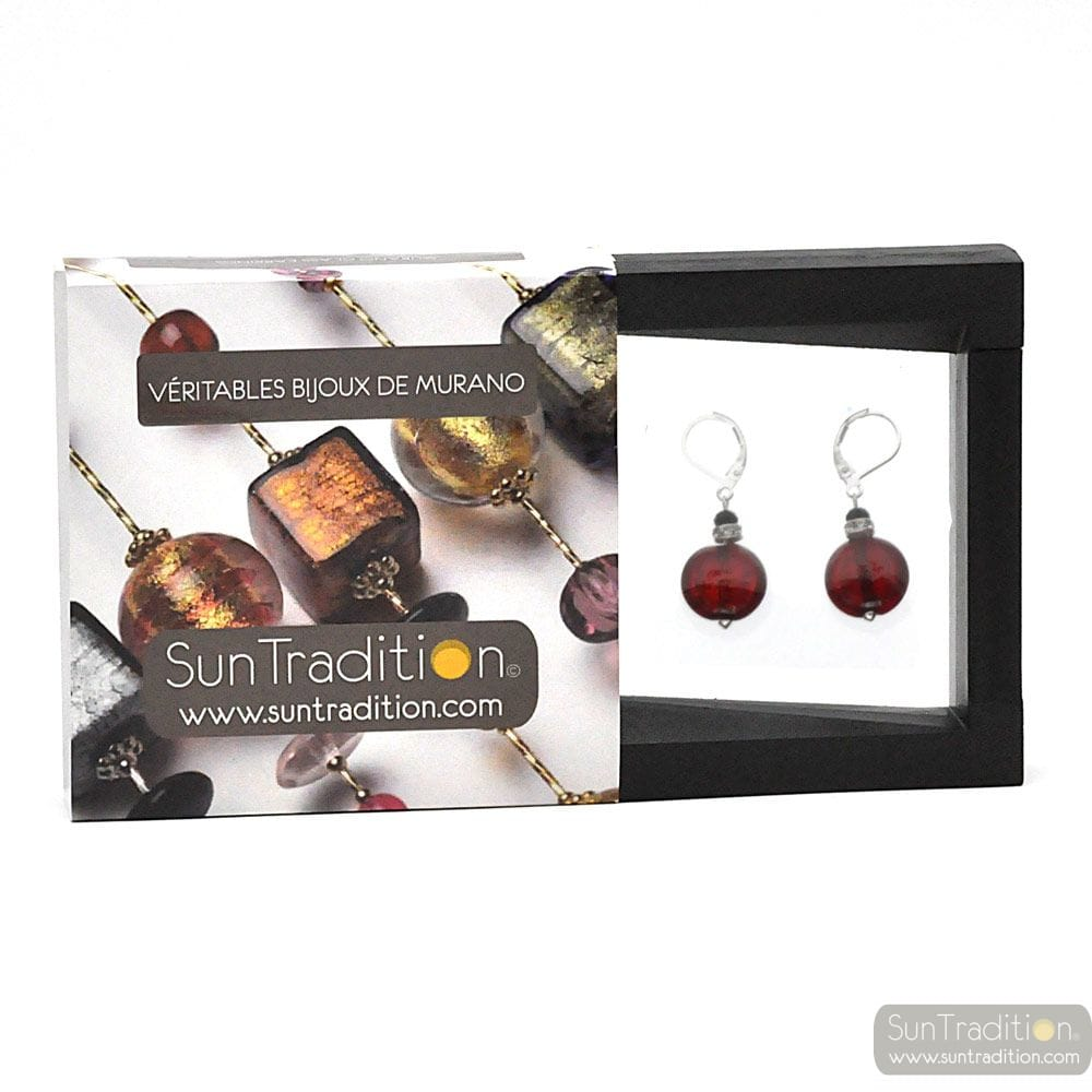 PASTIGLIA NOTTE RED - LEVERBACK RED EARRINGS JEWELRY REAL GLASS MURANO FROM VENICE