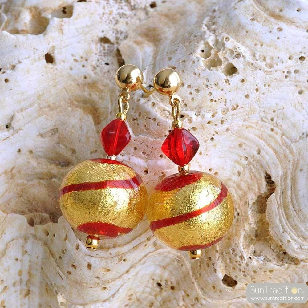 RUMBA RED EARRINGS GENUINE VENICE MURANO GLASS
