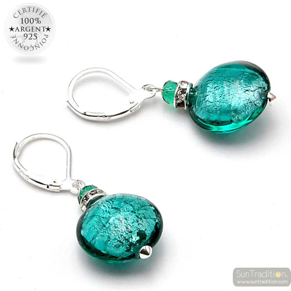 PASTIGLIA NOTTE EMERALD GREEN - LEVERBACK EMERALD GREEN EARRINGS JEWELRY REAL GLASS MURANO FROM VENICE