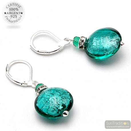 LEVERBACK EMERALD GREEN EARRINGS JEWELRY REAL GLASS MURANO FROM VENICE