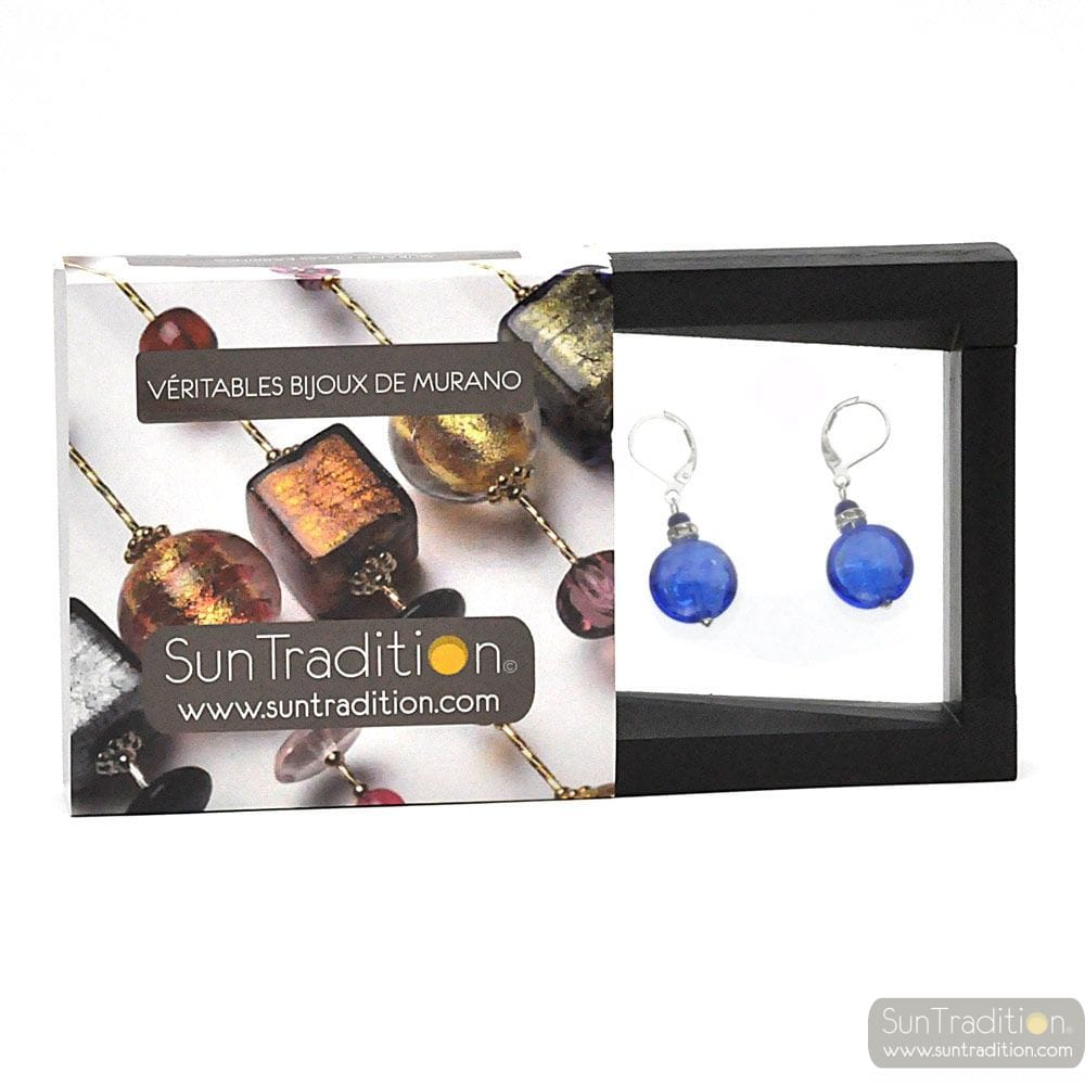PASTIGLIA NOTTE BLUE NAVY - LEVERBACK BLUE NAVY EARRINGS JEWELRY REAL GLASS MURANO FROM VENICE