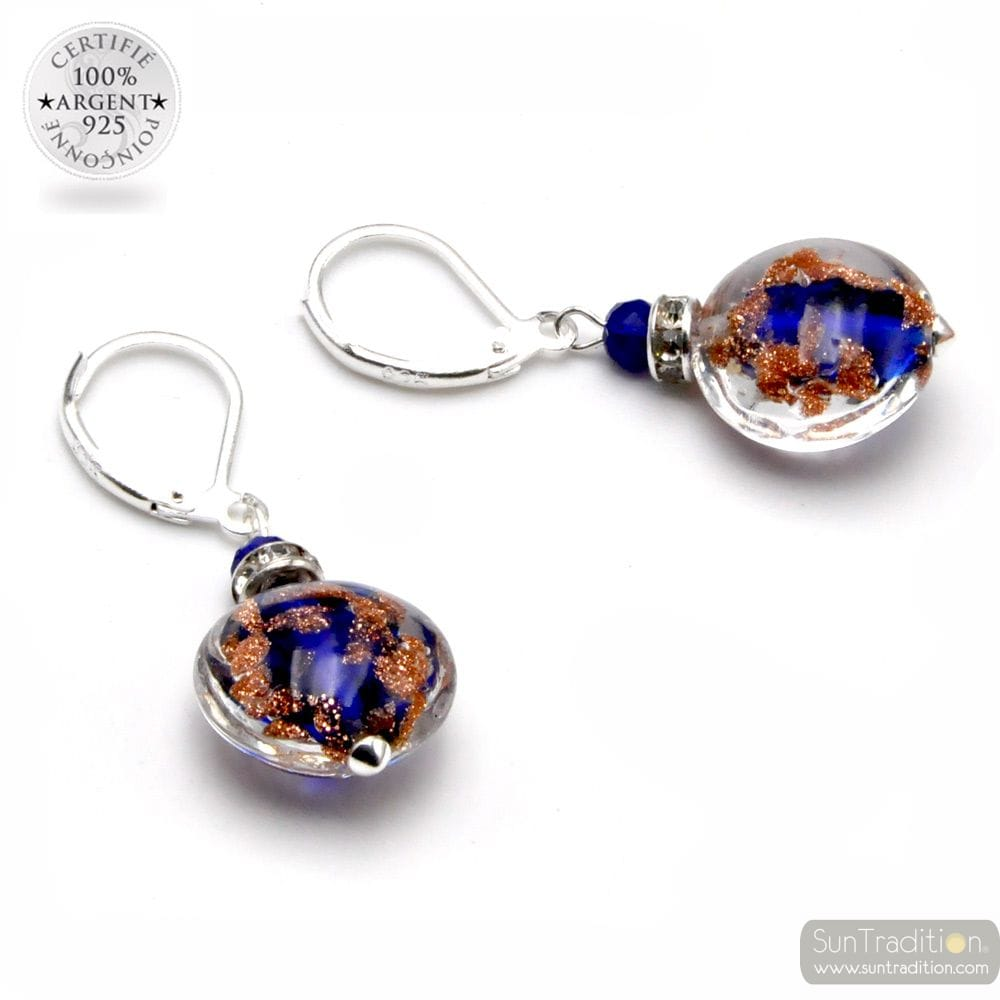PASTIGLIA NOTTE AVENTURINE COBALT - LEVERBACK AVENTURINE COBALT EARRINGS JEWELRY REAL GLASS MURANO FROM VENICE