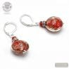 PASTIGLIA NOTTE AVENTURINE RED - LEVERBACK AVENTURINE RED EARRINGS JEWELRY REAL GLASS MURANO FROM VENICE
