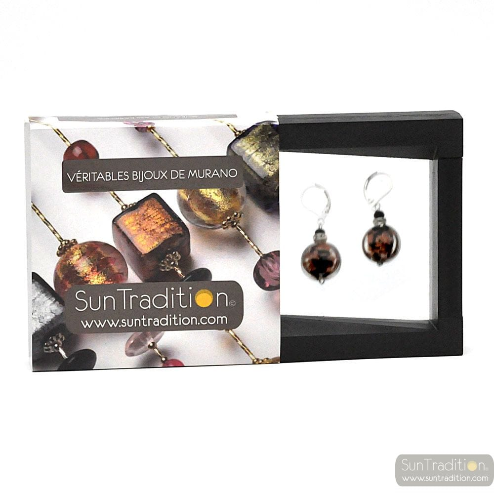 PASTIGLIA NOTTE AVENTURINE BLACK - LEVERBACK AVENTURINE BLACK EARRINGS JEWELRY REAL GLASS MURANO FROM VENICE