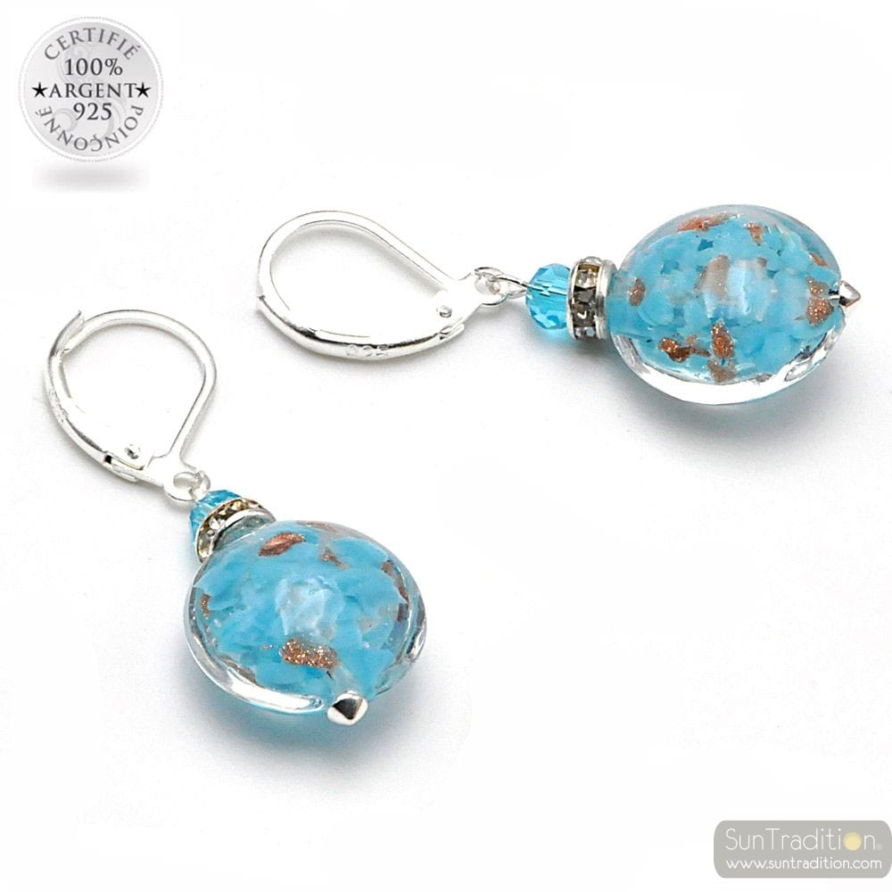 LEVERBACK AVENTURINE SKY BLUE EARRINGS JEWELRY REAL GLASS MURANO