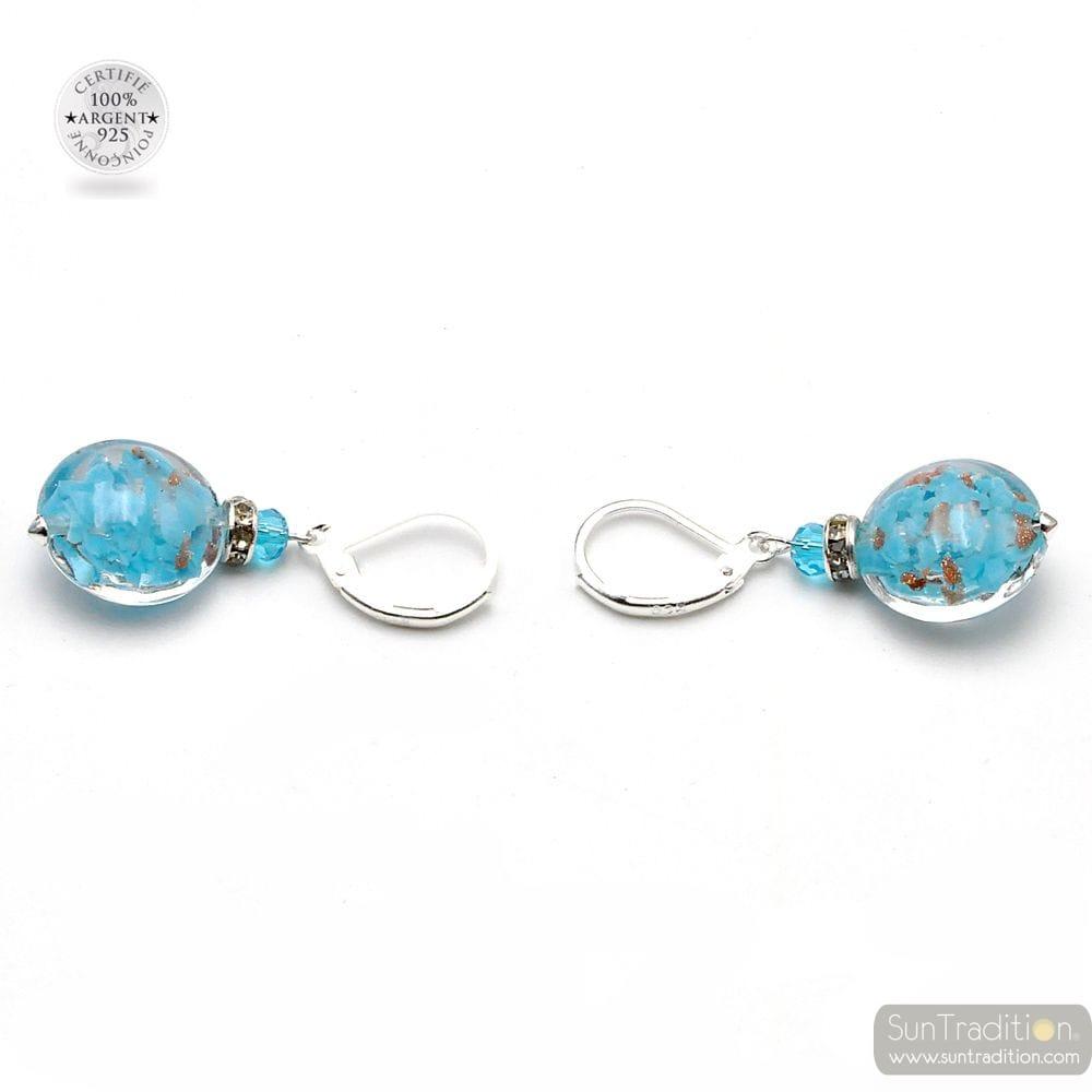 LEVERBACK AVENTURINE SKY BLUE EARRINGS JEWELRY REAL GLASS MURANO