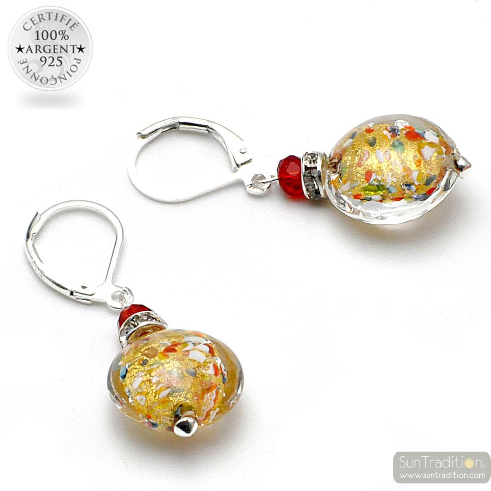 MULTICOLOURED GOLD EARRINGS MADE OF REAL MURANO GLASS FROM VENICE
