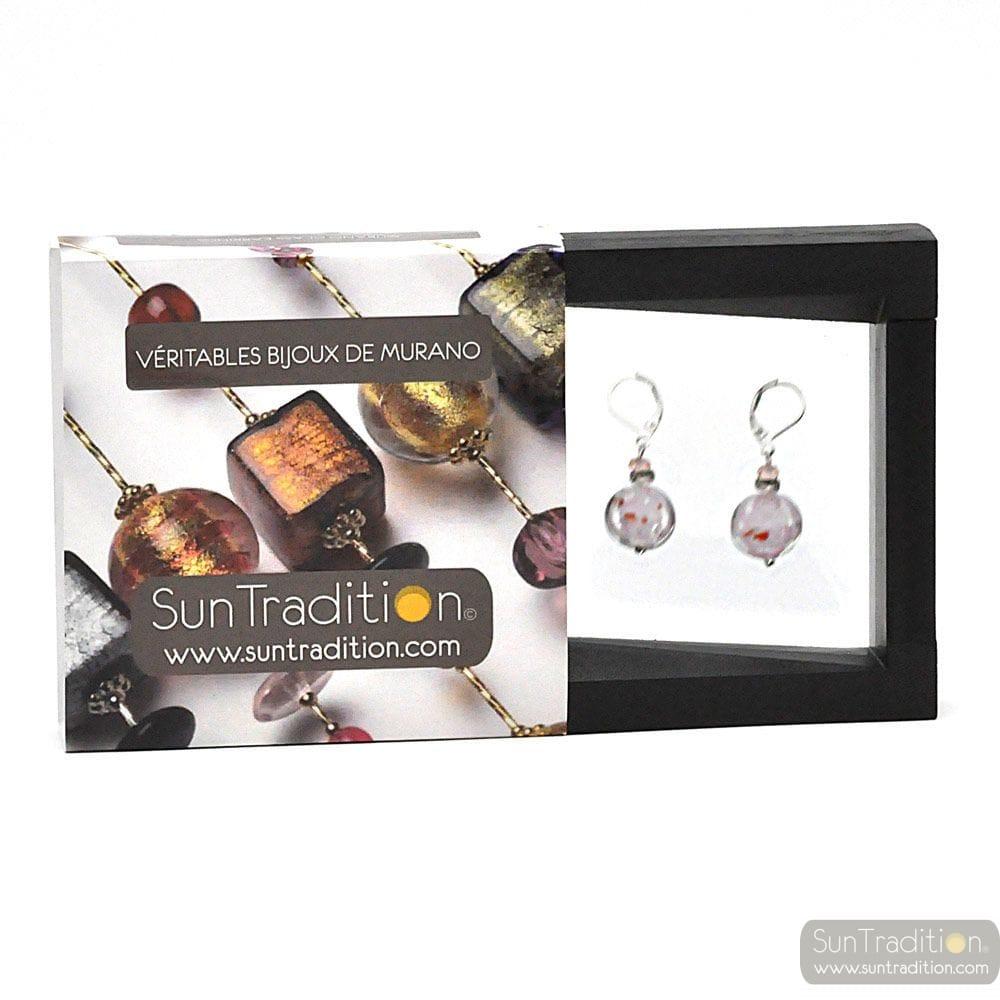 PASTIGLIA NOTTE AVENTURINE ROSE - LEVERBACK AVENTURINE PINK EARRINGS JEWELRY REAL GLASS MURANO FROM VENICE