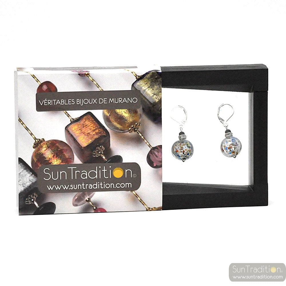 PASTIGLIA NOTTE MULTICOLOURED SILVER - LEVERBACK MULTICOLOURED SILVER EARRINGS MURANO GLASS