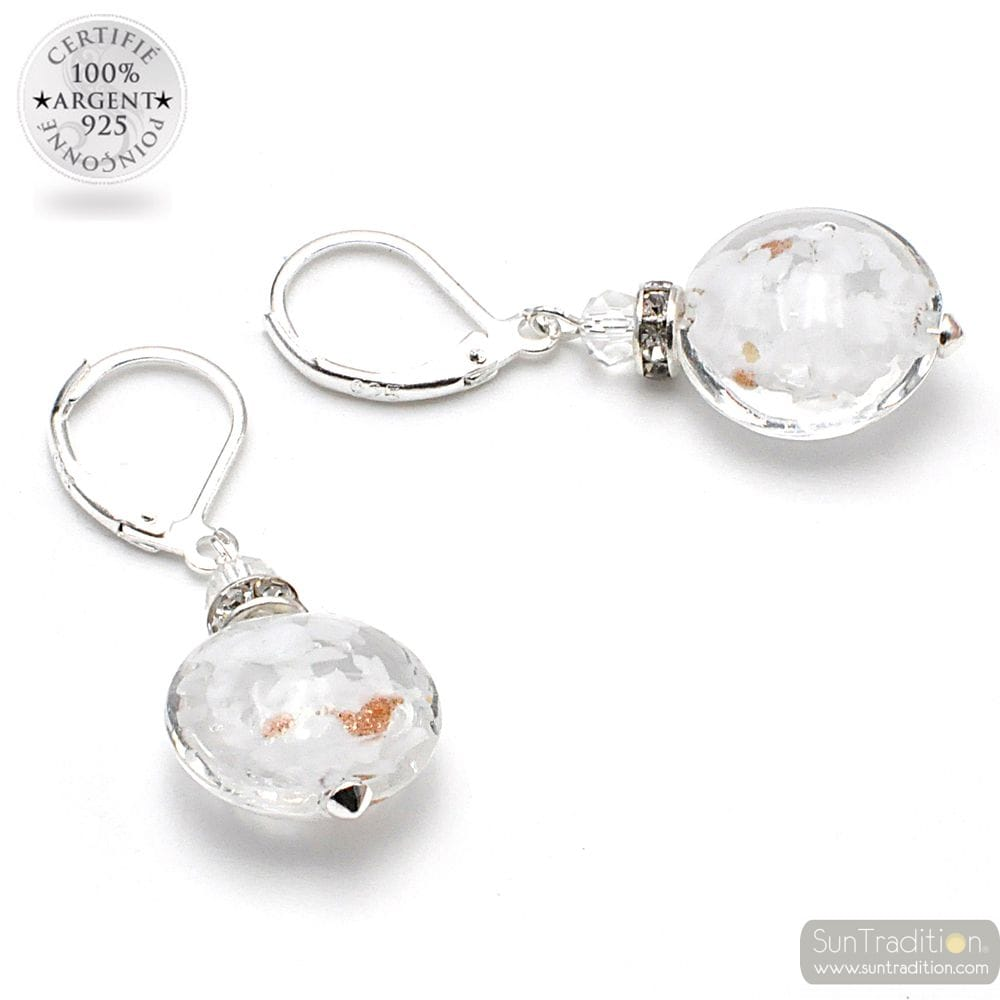 LEVERBACK AVENTURINE WHITE EARRINGS JEWELRY REAL GLASS MURANO FROM VENICE
