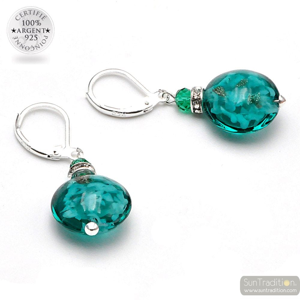 PASTIGLIA NOTTE EMERALD GREEN AVENTURIN - LEVERBACK EMERALD GREEN AVENTURIN EARRINGS JEWELRY REAL GLASS MURANO FROM VENICE
