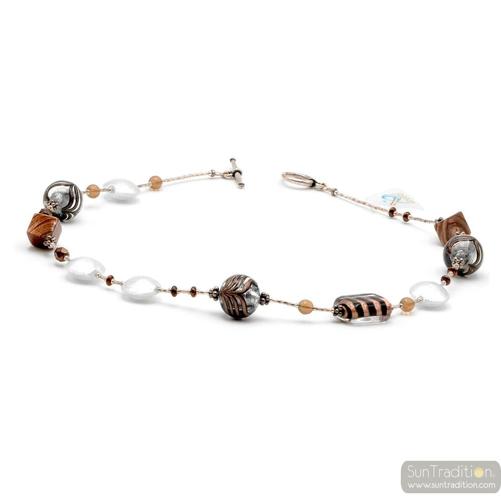 FENICIO SILVER - SILVER MURANO GLASS NECKLACE JEWELRY MURANO GLASS MESHED BROWN