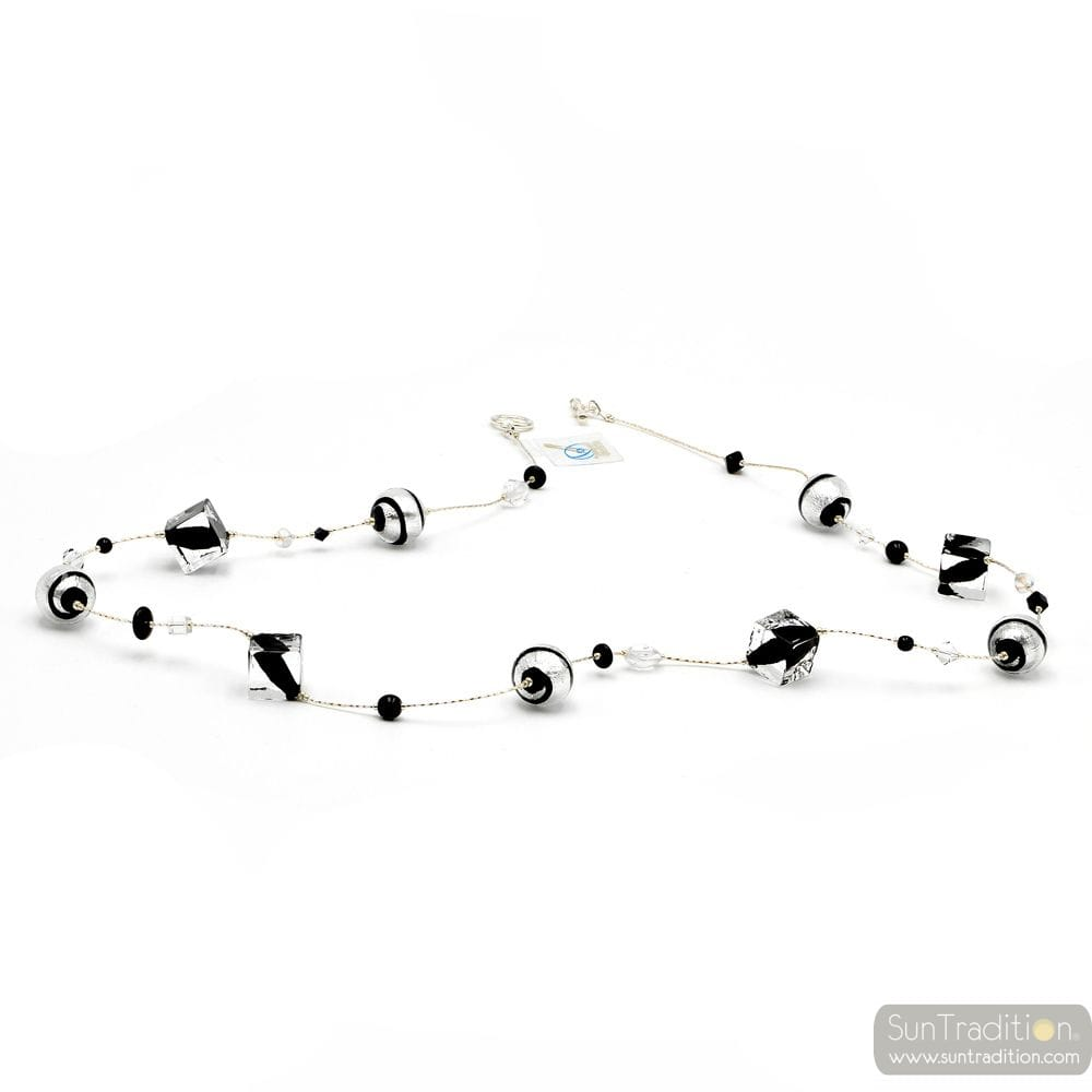 BLACK BEADS CUBES MURANO GLASS NECKLACE