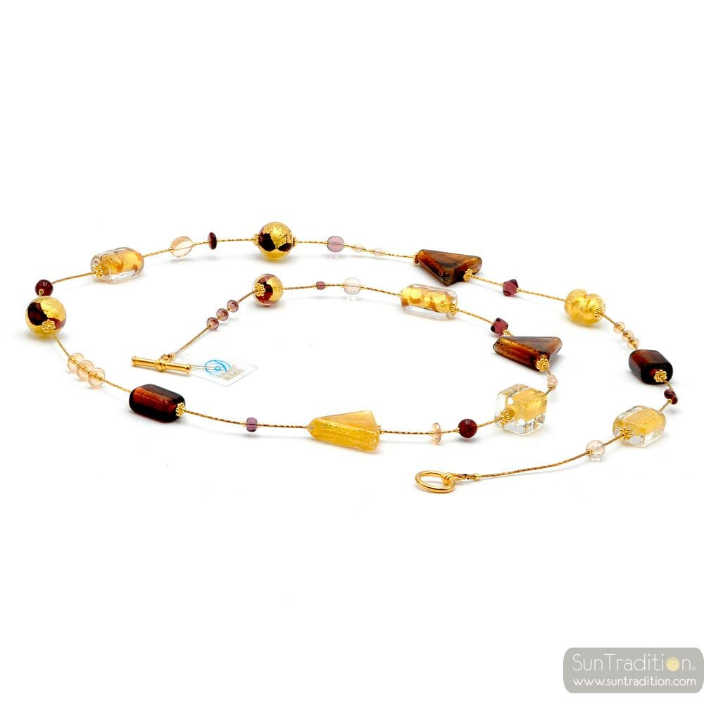 NECKLACE LONG AMBER GOLD GENUINE MURANO GLASS