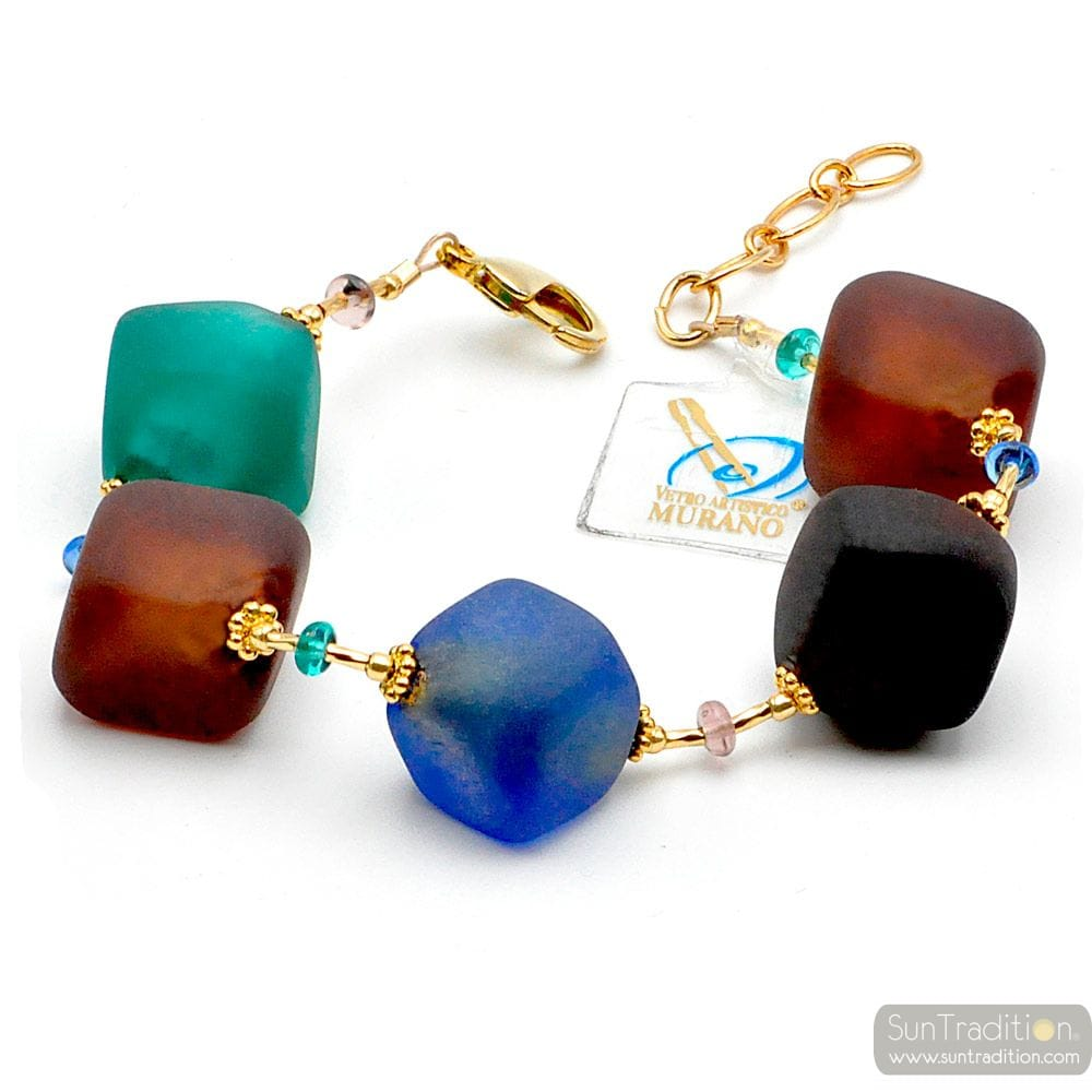 BLUE AND BROWN LARGE BEADS BRACELET - Blue and brown Murano glass bracelet Venitian and italian jewel