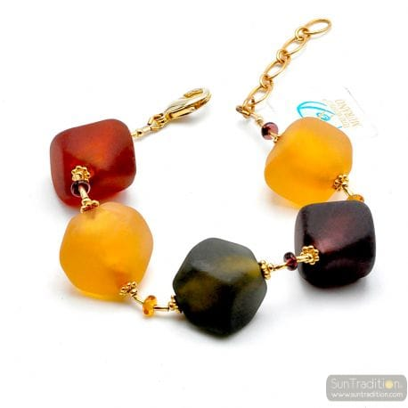 Large gold glass pearls bracelet - Gold and glass Murano bracelet venitian jewellry Italy