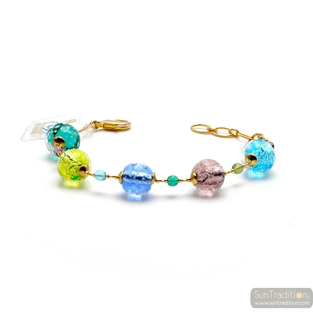 FIZZY BLUE - BLUE MURANO GLASS BRACELET GENUINE VENITIAN GLASS