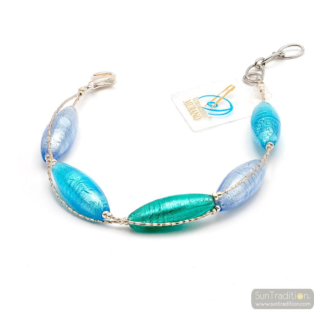blue Murano glass bracelet- Blue Murano glass bracelet from Venice Italy