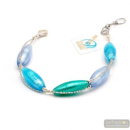 blue Murano glass bracelet- Blue Murano glass bracelet from Venice Italy
