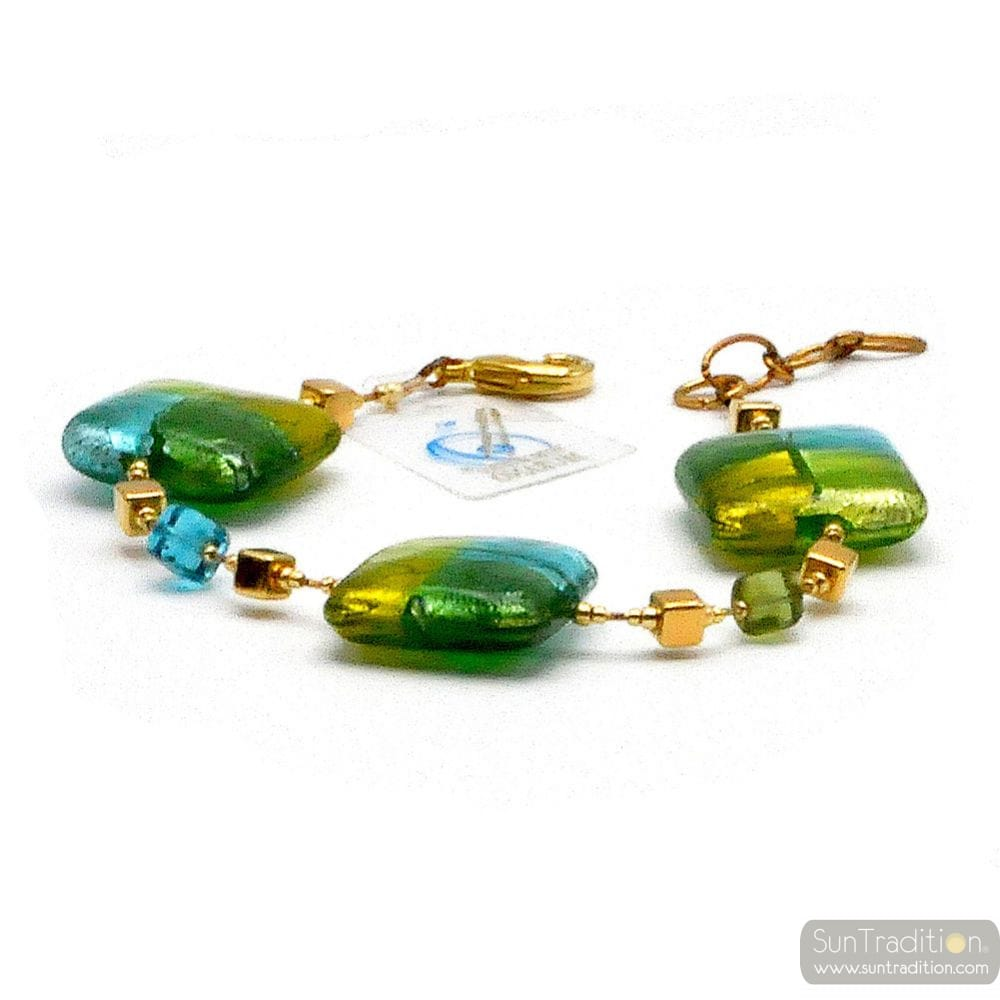 QUADRIFOGLIO GREEN - GREEN MURANO GLASS BRACELET FROM VENICE