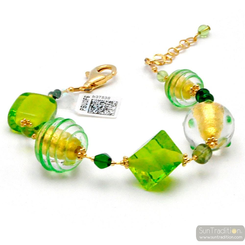 GREEN AND GOLD GENUINE MURANO GLASS BRACELET OF VENICE