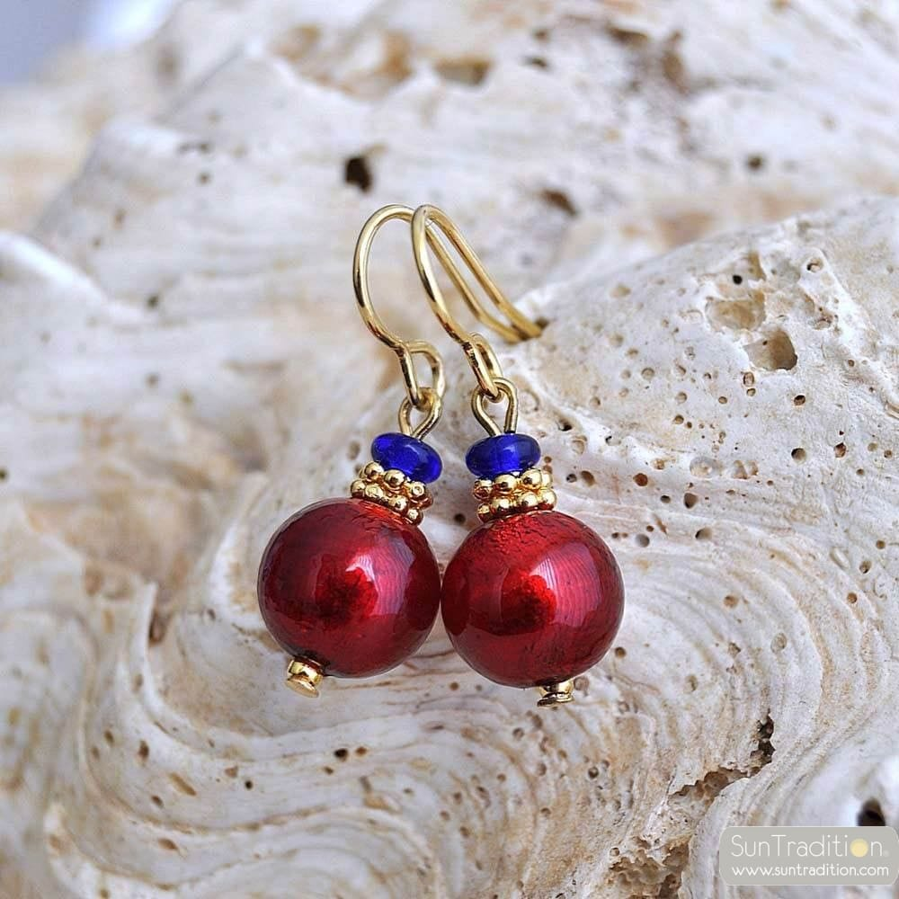 PENELOPE RED EARRINGS GENUINE MURANO GLASS VENICE