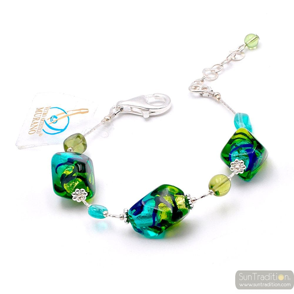 SASSO BICOLOR GREEN - GREEN AND BLUE MURANO GLASS BRACELET FROM VENICE