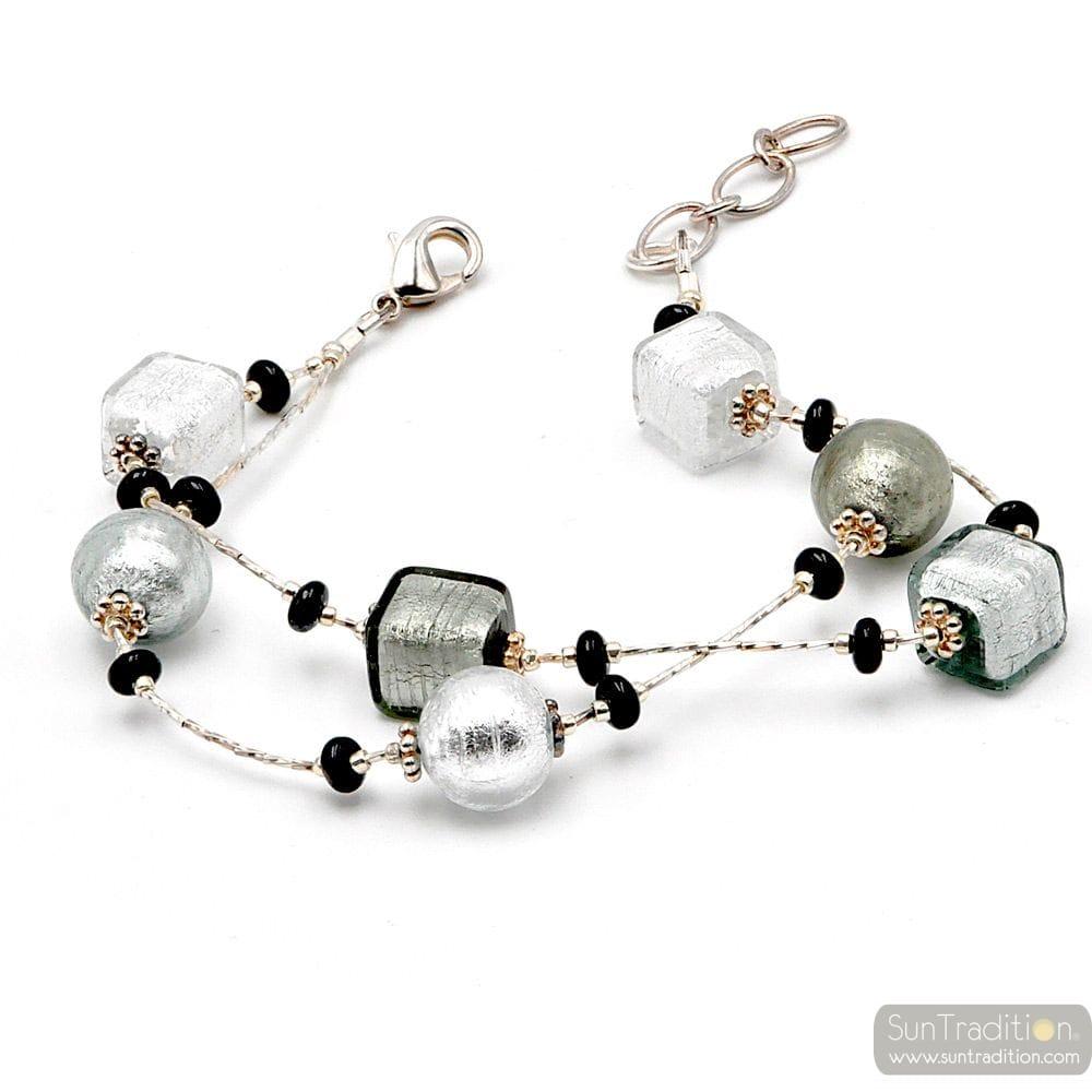 PENELOPE SILVER - SILVER MURANO GLASS BRACELET FROM VENICE