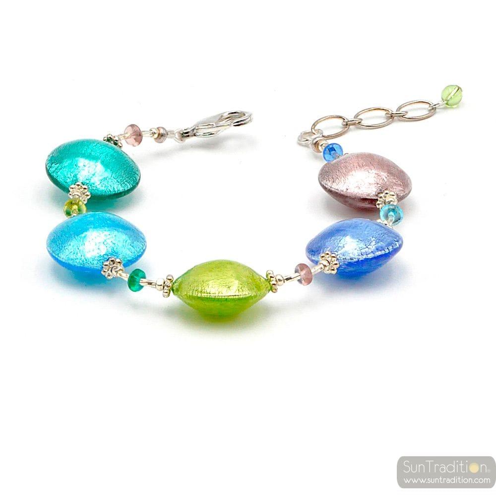 Blue pellets Murano glass bracelet from Venice Italy