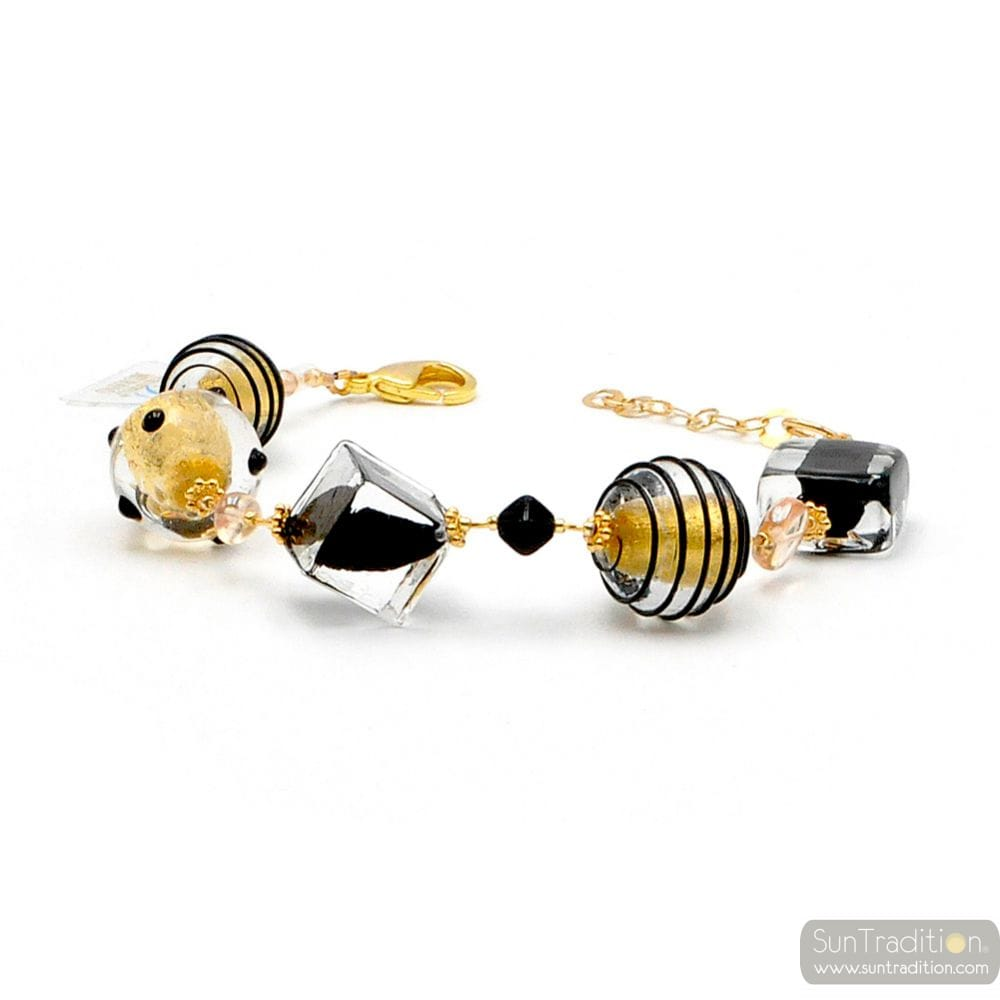 JOJO BLACK AND GOLD - BLACK AND GOLD MURANO GLASS BRACELET FROM VENICE