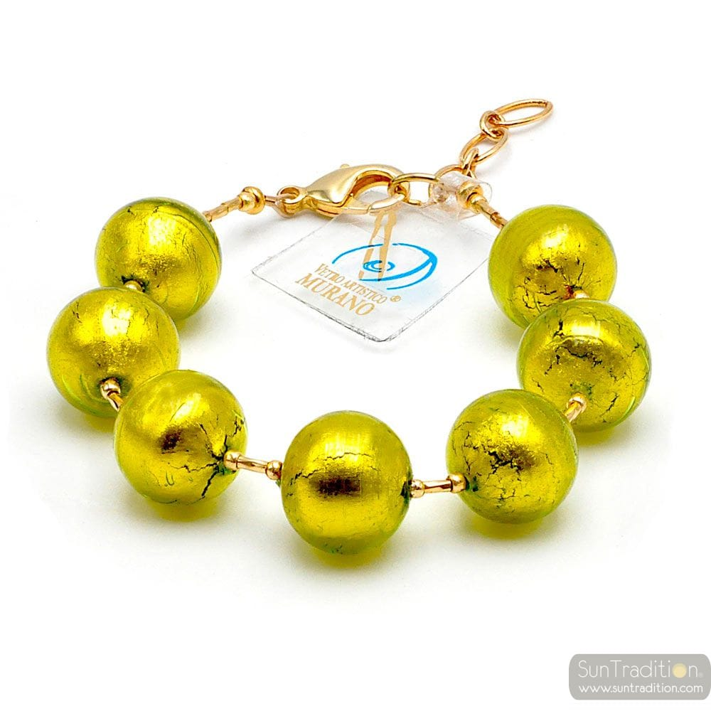green Lime Bracelet - Genuine Murano glass bracelet Venice