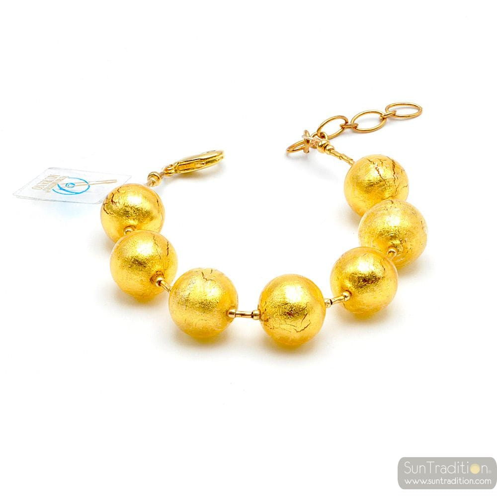 gold Bracelet - Gold Murano glass bracelet from Venice