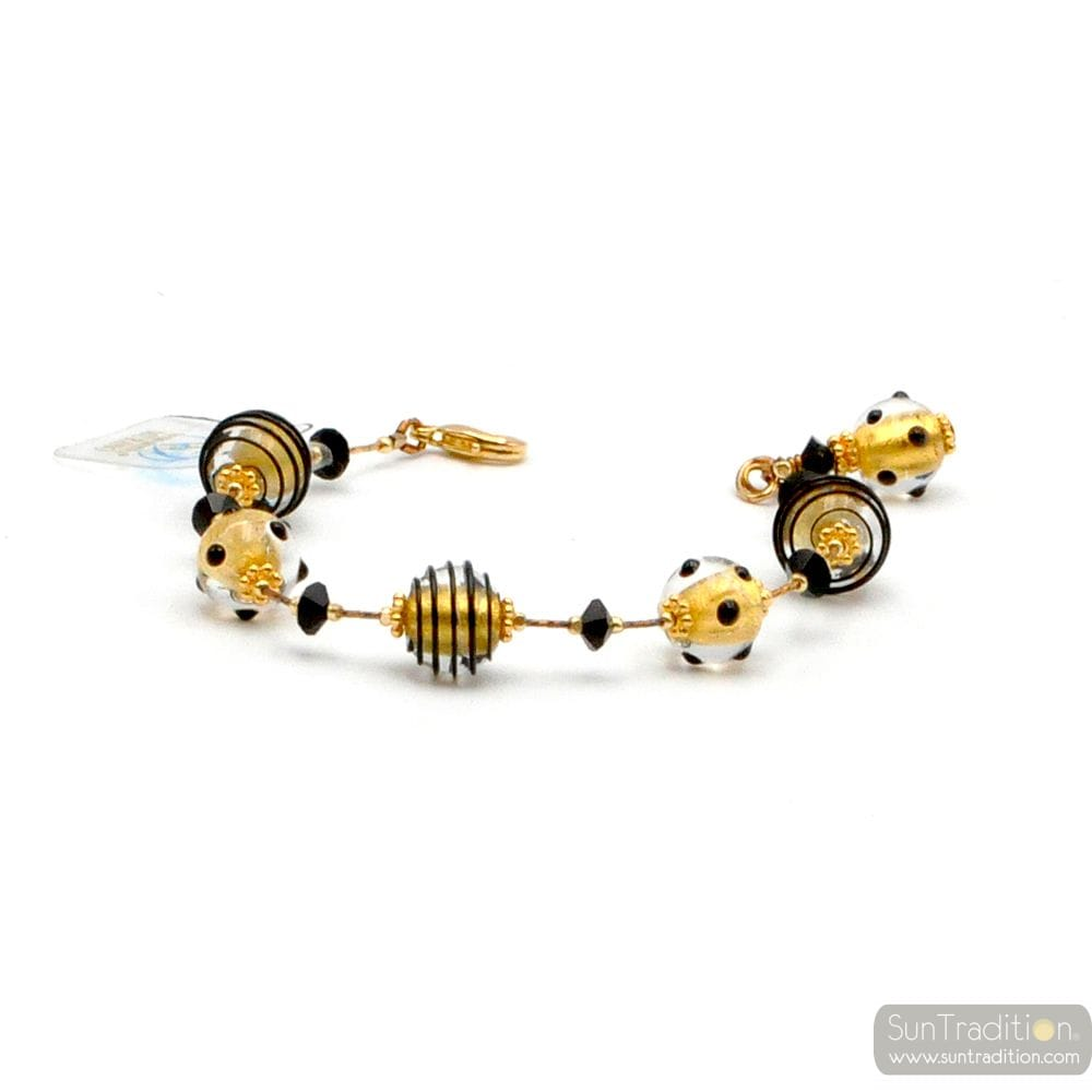 JO- JO MINI BLACK AND GOLD BRACELET GENUINE MURANO GLASS VENICE