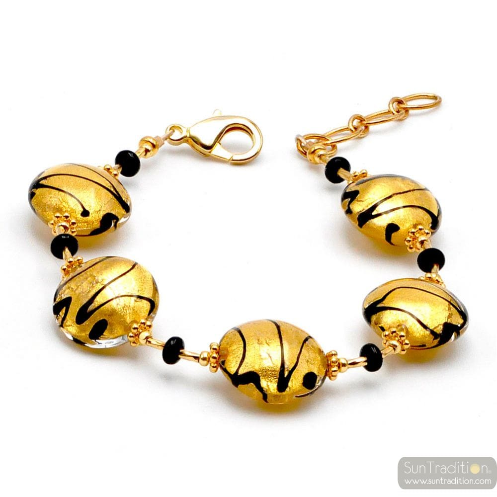 CHARLY GOLD - GOLD MURANO GLASS BRACELET FROM VENICE