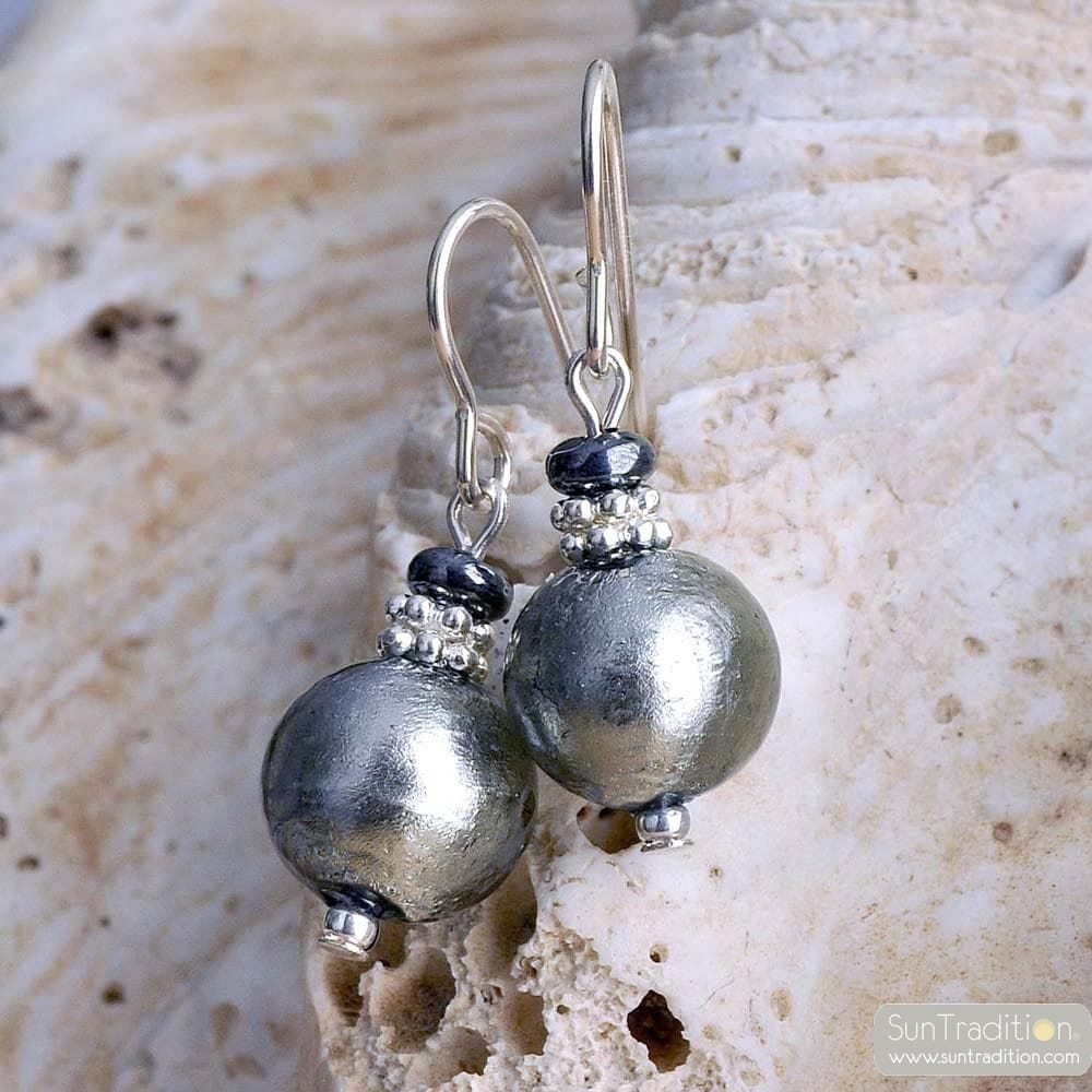SILVER VENETIAN GLASS EARRINGS VENICE