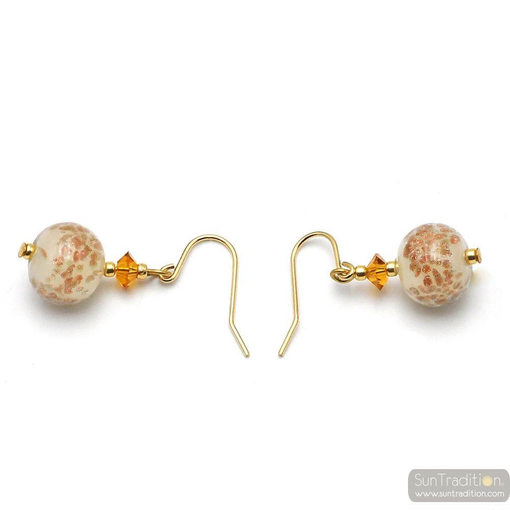 BEIGE EARRINGS IN REAL MURANO GLASS FROM VENICE