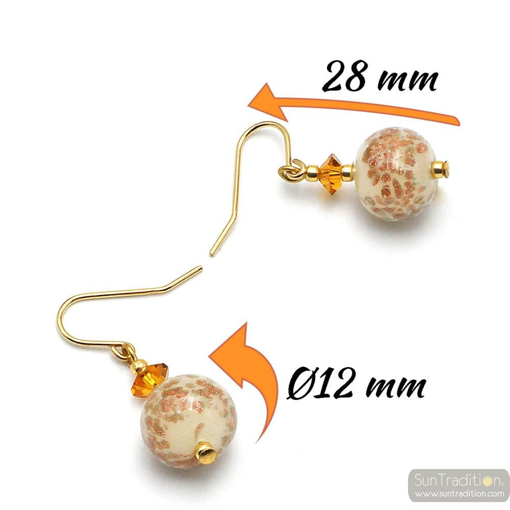 BEIGE OPALINE - BEIGE EARRINGS IN REAL MURANO GLASS FROM VENICE