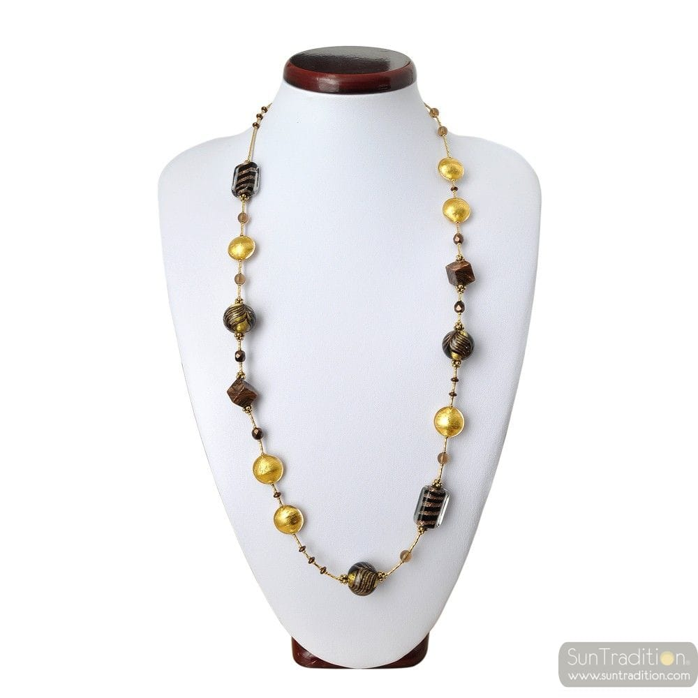 COLLIER EN VERRE MURANO OR LONG BARIOLE MARRON VENITIEN
