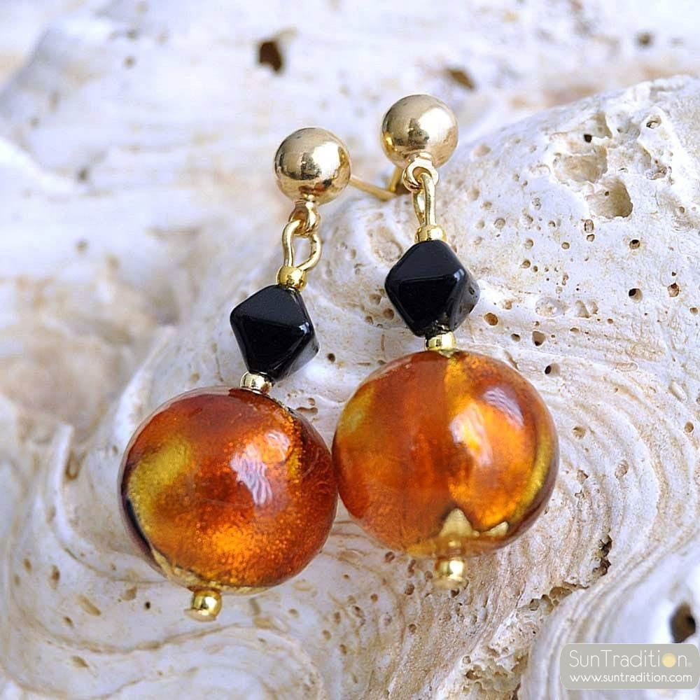 AMBER MURANO GLASS EARRING VENITIAN JEWELRY