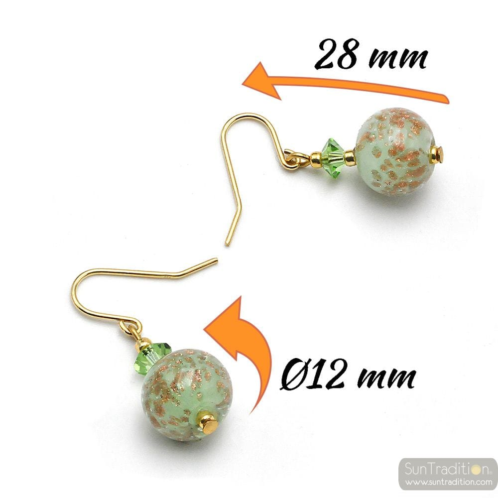 GREEN OPALINE - GREEN EARRINGS IN REAL MURANO GLASS FROM VENICE